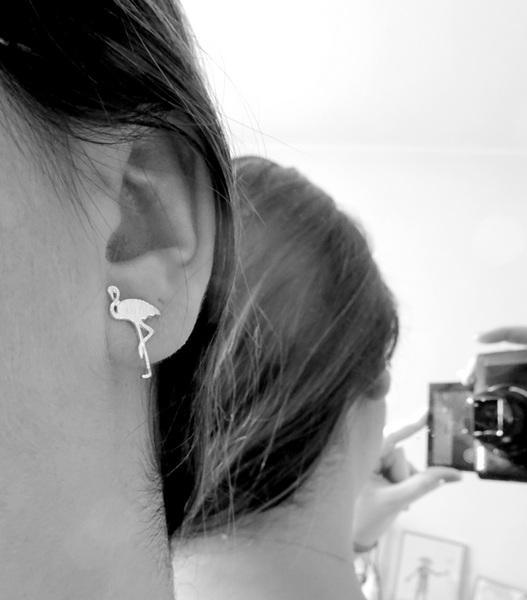 boucles d'oreille flamant rose